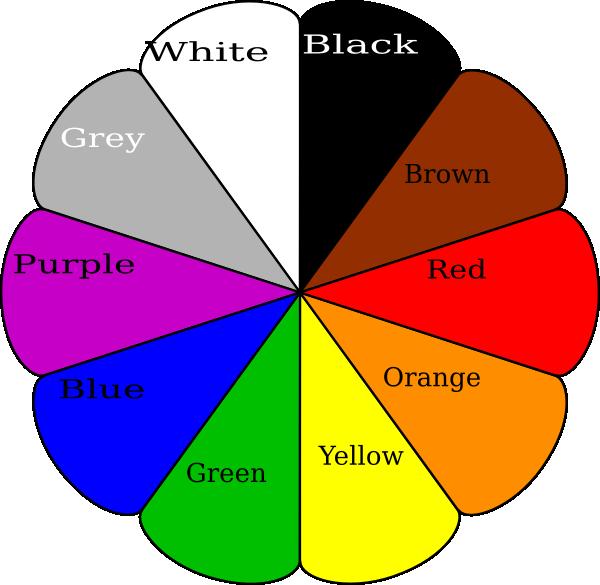 Колесо с разными цветами на английском языке